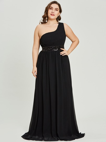 A-Line One-Shoulder Draped Sequins Floor-Length Evening Dress