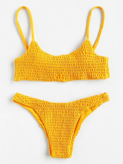 European Plain Pleated Bikini Set