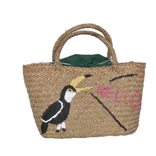 Casual Toucan Embroidery Straw Bag