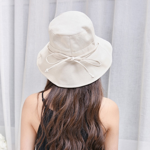 Bowknot Plain Sunshade Bucket Hat