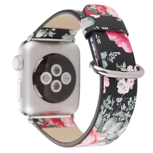 Artificial Leather Apple Watch Band with Retro Floral Pattern for iWatch