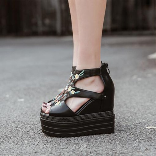 Embroidery Floral Platform Wedge Heel Black Shoes for Women