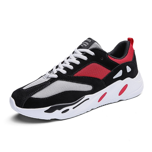 Color Block Breathable Lace Up Men's Sneakers