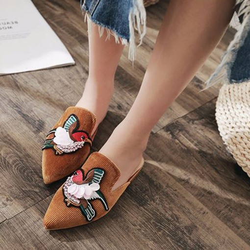 Birds Embroidery Chic Corduroy Women's Mules Shoes