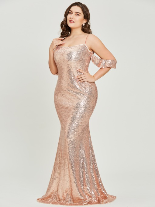 Spaghetti Straps Sequins A-Line Plus Size Prom Dress