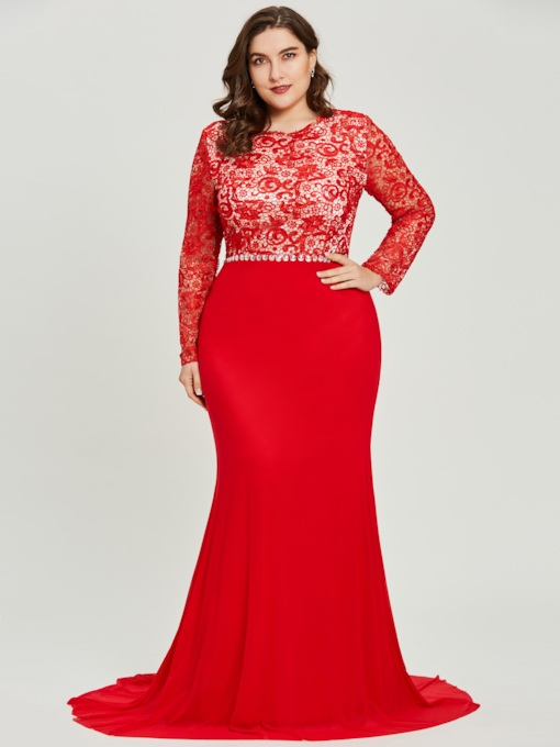 Long Sleeves Scoop Neck Lace Mermaid Evening Dress