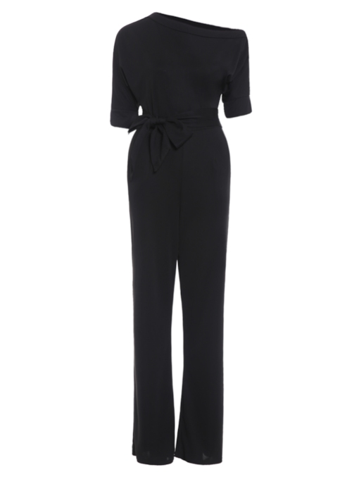 Inclined Shoulder Plain High-Waist Lace-Up Slim Women's Jumpsuit