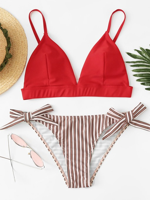 Side Tie Bowknot Adjustable Strap Women's Bikini Set