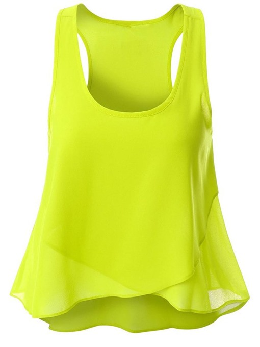 Aysmmetrical U-Neck Chiffon Women's Tank Top