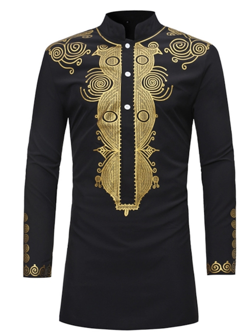 African Fashion African Fashion Dashiki Stand Collar Mid-Length Slim Men's Shirt