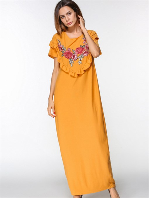 Yellow Straight Pockets Women's Maxi Dress