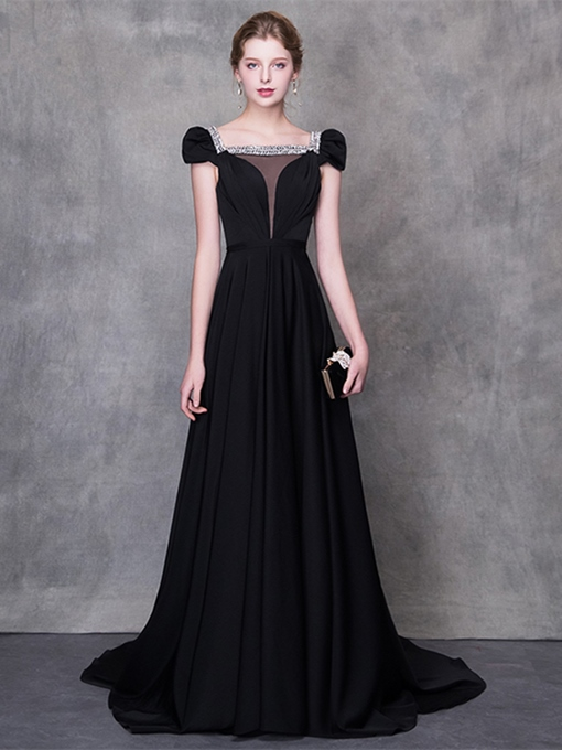 A-Line Square Rhinestone Evening Dress