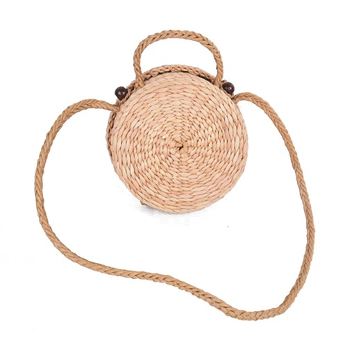 Vintage Circular Shape Straw Cross Body Bag