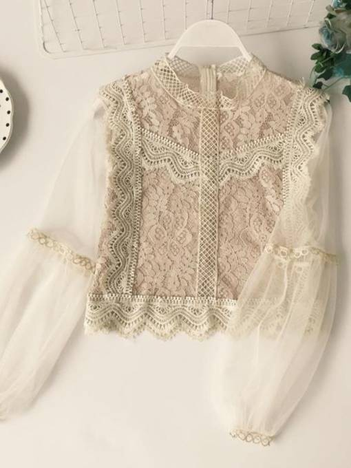 Lace Stand Collar Lantern Sleeve Women's Blouse