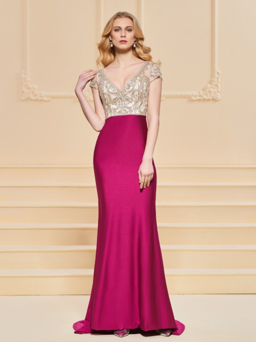 Trumpet V-Neck Beaded Evening Dress