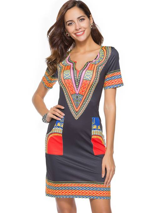 Short Sleeve Tradtional Print Women's Sheath Dress