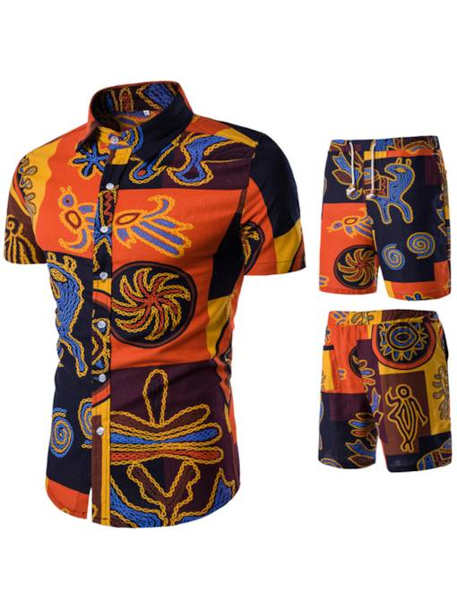 Ethnic Print Thin Slim Men's Sports Suit