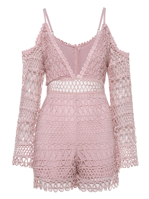 Plain Lace Patchwork Backless Hollow Women's Romper