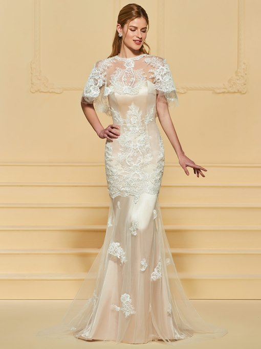 Mermaid Appliques Wedding Dress with Sleeve