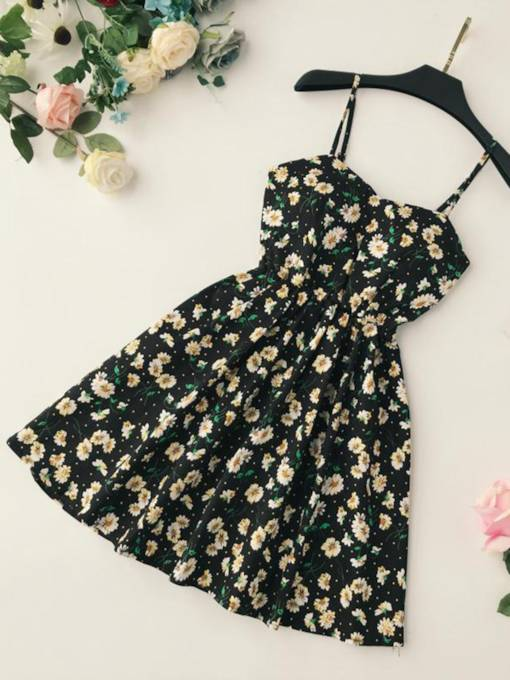 Floral Print A Line Sleeveless Women's Party Dress