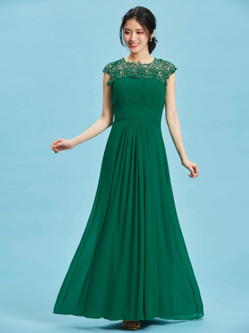 A-Line Round Appliques Pleats Floor-Length Evening Dress