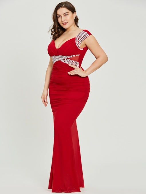 c9ab2c0f6dbe6 USD  49.82. V Neck Sheath Red Sexy Plus Size Evening Dress
