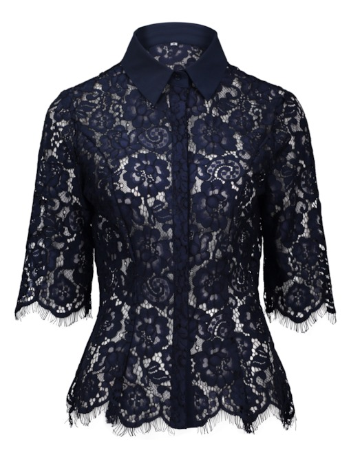 Hidden Button Lace Patchwork Lapel Women's Blouse