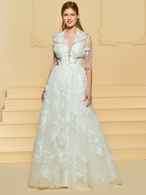 Flowers Appliques Wedding Dress with Jacket