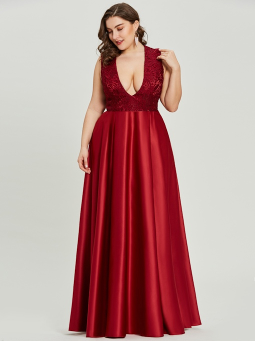 V Neck Sleeveless A Line Evening Dress