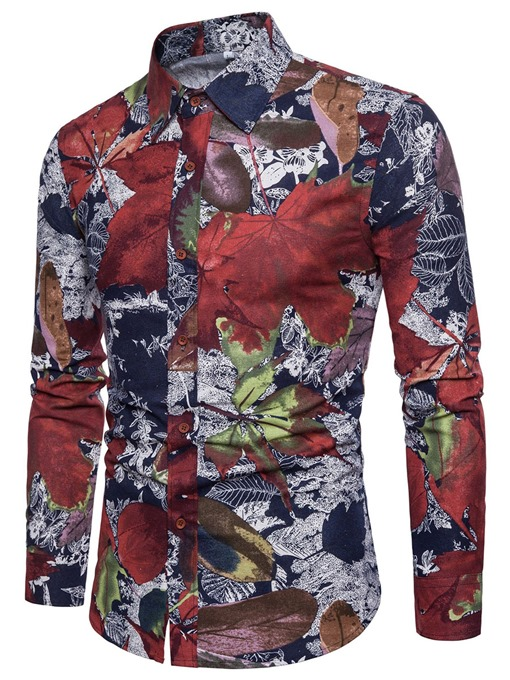 Vintage Lapel Floral Print Slim Men's Shirt
