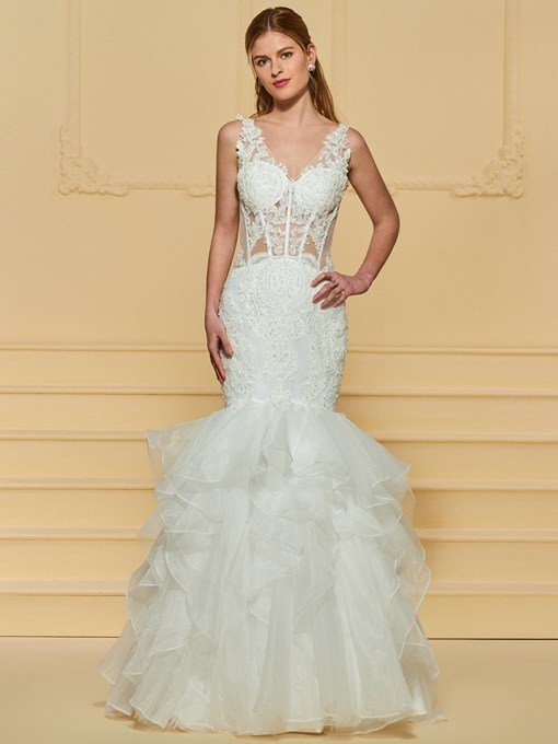 Beaded Appliques Ruffles Mermaid Wedding Dress