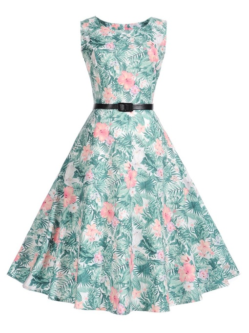 Green Floral Women's A-Line Dress