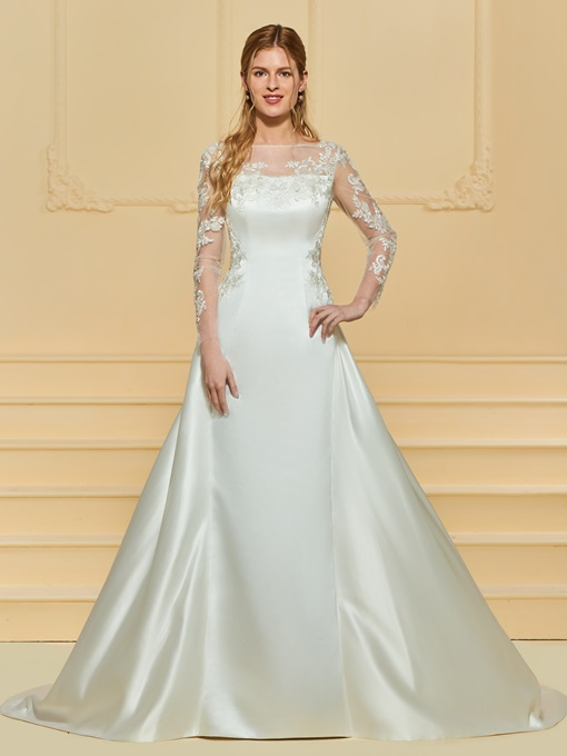 Bateau Neck Appliques Wedding Dress with Long Sleeve