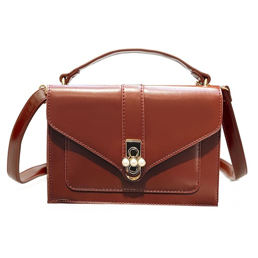 Casual Latch Pear Adornment PU Cross Body Bag