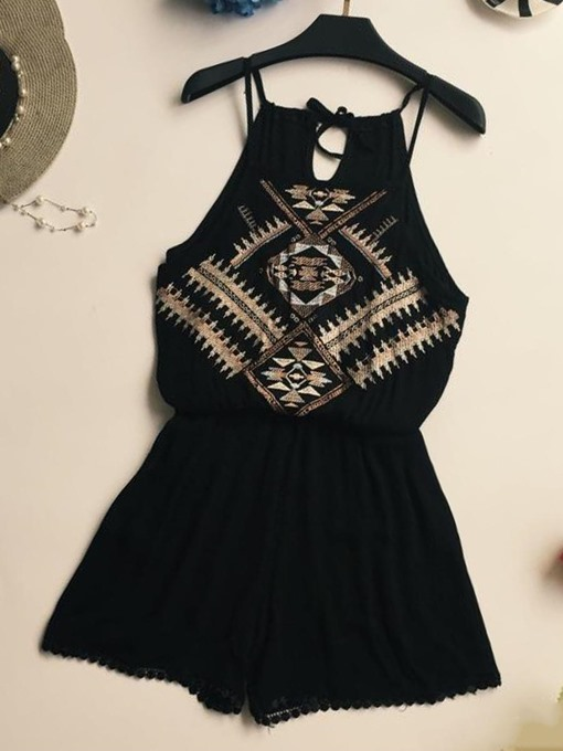 Embroidery Strap Lace-Up Women's Rompers