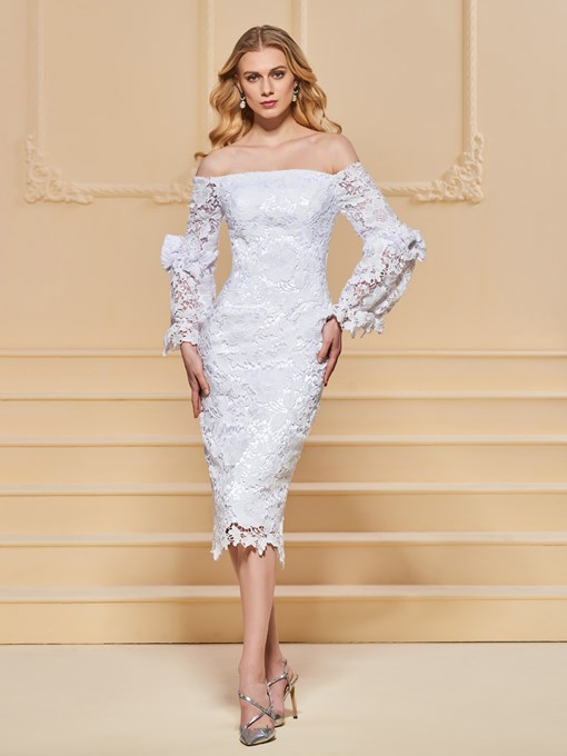 Lace Off-the-Shoulder Sheath Evening Dress