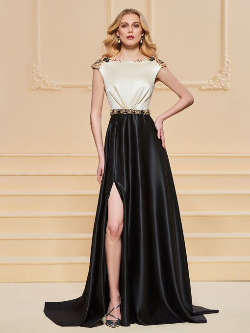 A-Line Bateau Beadings Evening Dress