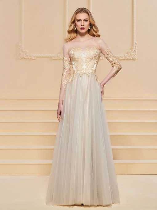 A-Line Long Sleeves Appliques Scoop Evening Dress