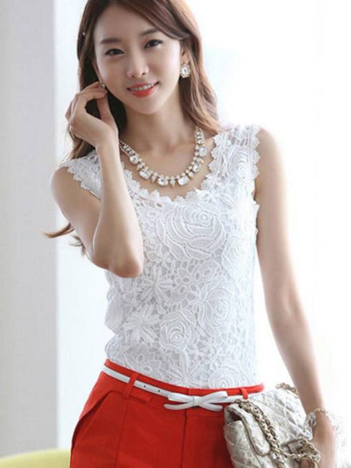 Plain Lace Sleeveless Women's Tank Top
