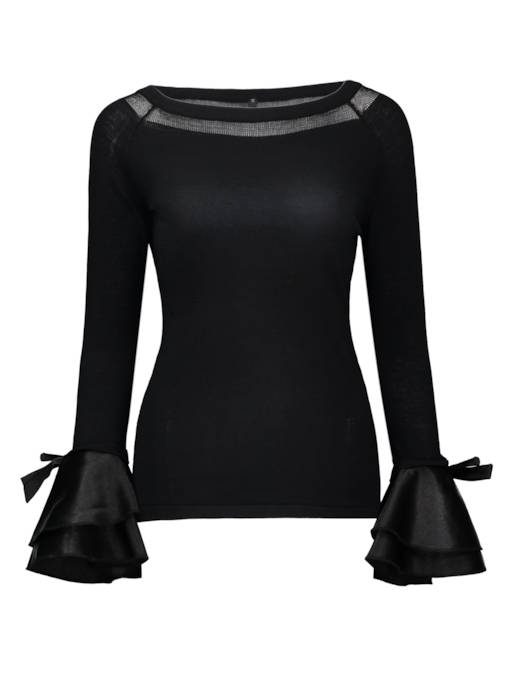Solid Color Bow Knot Bell Sleeve Women's Blouse