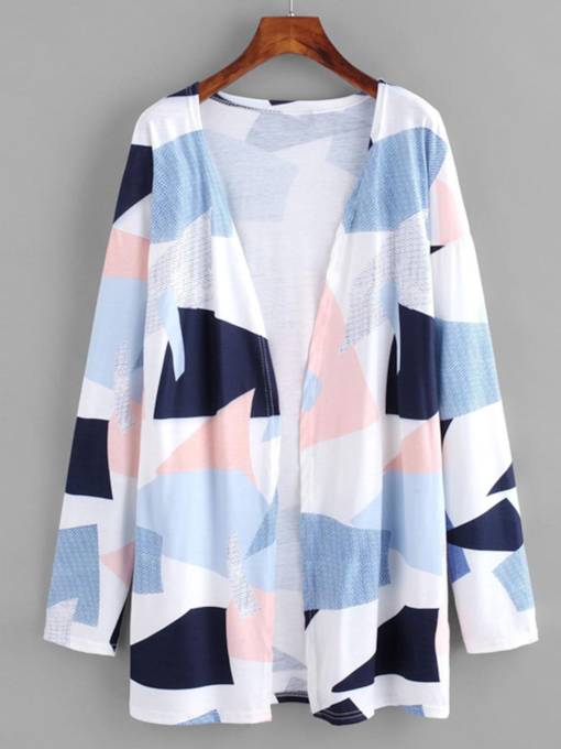 Geometric Print Open Front Women's Trench Coat