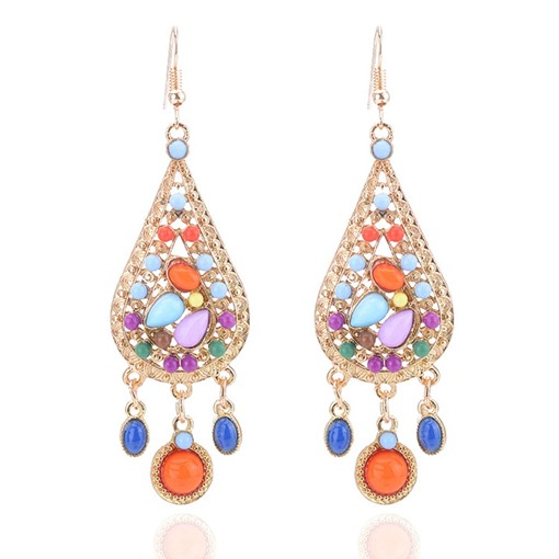 Pear Colorful Rhinestone Tassel Earrings