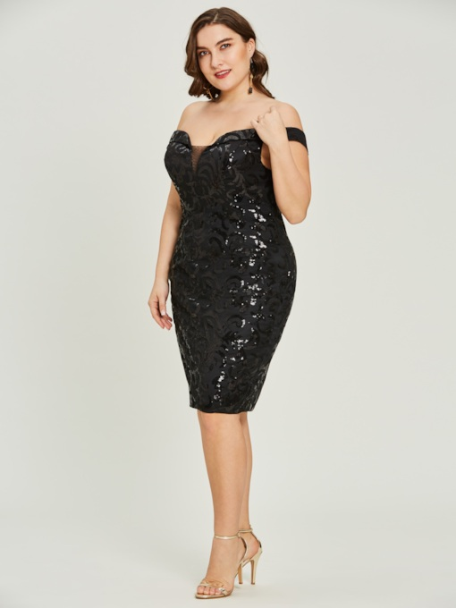 Off-the-Shoulder Sheath Sequins Cocktail Dress