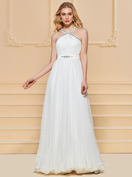 A-Line Beading Pleats Halter Evening Dress