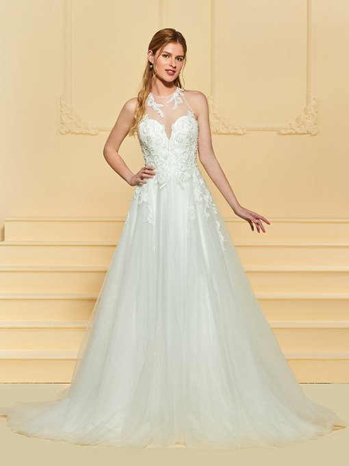 A-Line Beaded Appliques Backless Wedding Dress
