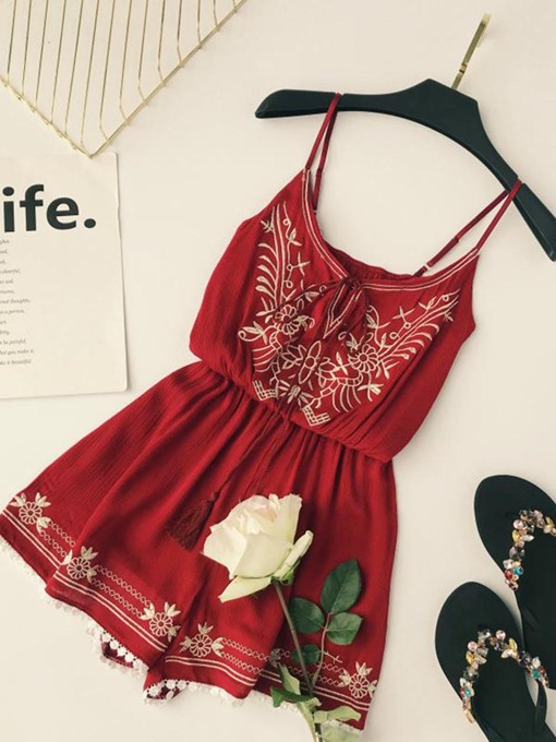 Embroidery Lace-Up Strap Tassel Women's Rompers