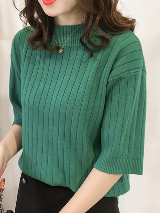 High Collar Women's Pullover Knitwear Tee