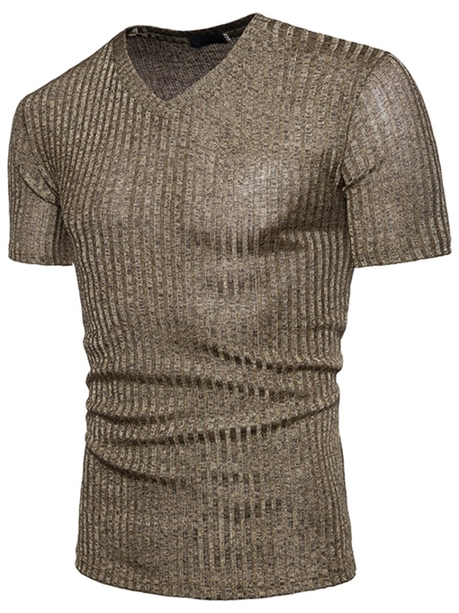V-Neck Stripe Slim Men's T-Shirt