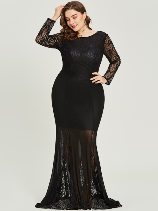 Scoop Long Sleeves Mermaid Plus Size Evening Dress