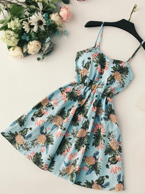 Floral Strappy Women's Sexy Dress